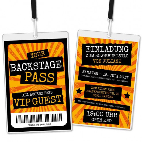 Einladungskarte als Backstage Pass VIP