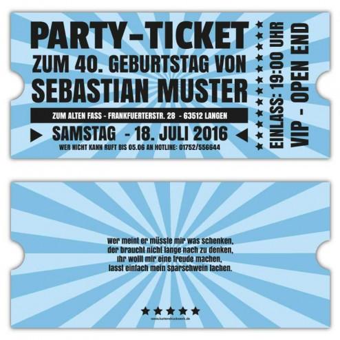 Retro Einladungskarten zum Geburtstag als Ticket VIP Oktoberfest