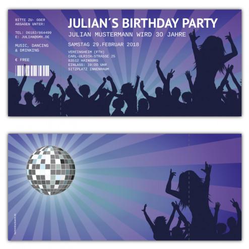 Einladungskarten als Retro Party Ticket