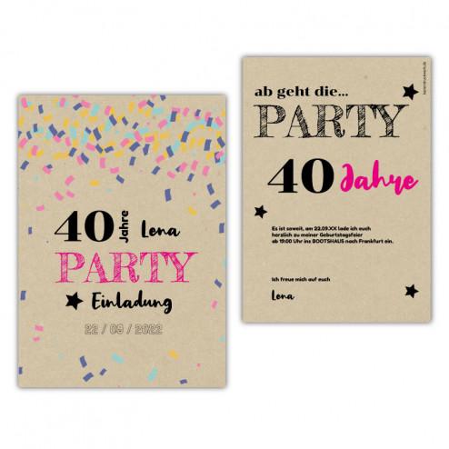 Einladung Geburtstag Konfetti