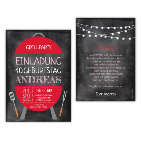 Einladung Grillparty Vintage