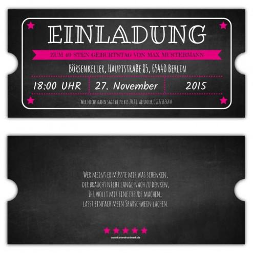 Vintage Einladungskarte zum Geburtstag als Ticket