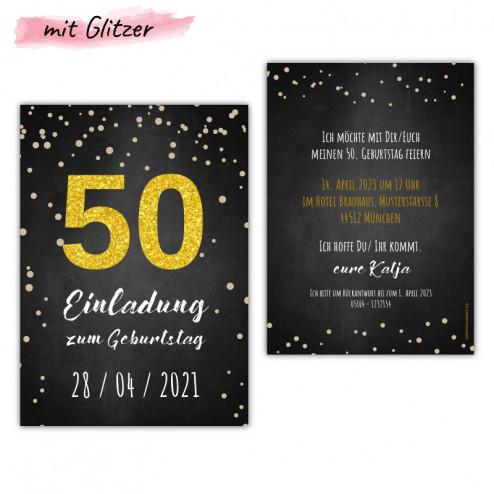 einladungskarten-50-geburtstag-mit-gold-glitzer