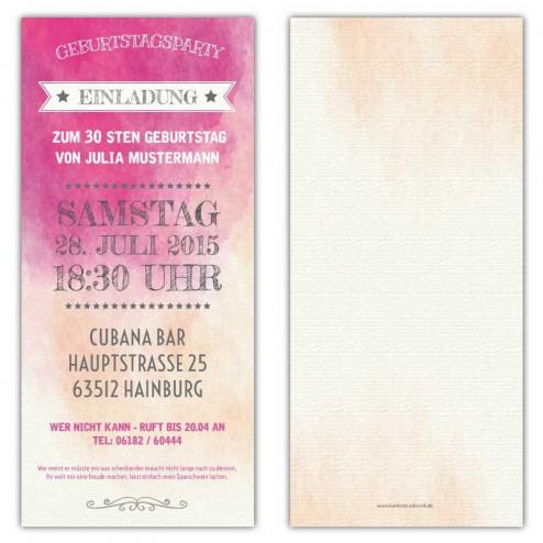 Einladung zum Geburtstag als Eintrittskarte, Vintage, Ticket