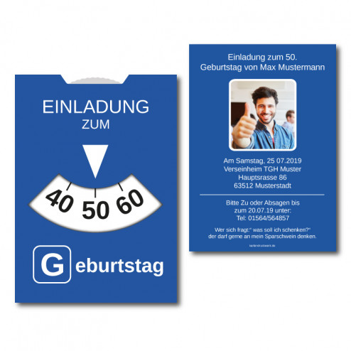 Einladungskarten Parkscheibe