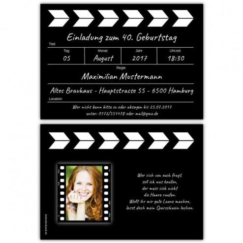Einladung als Regieklappe mit Ihrem Foto