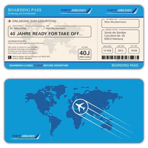 Einladungskarte als Flugticket Boarding Pass
