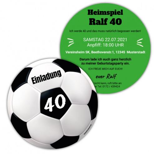 Fussball Einladung als Ball (rund)