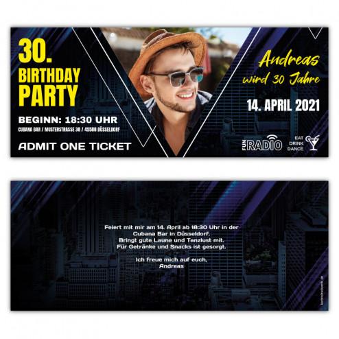 Geburtstagseinladung als Eintrittskarte - Ticket