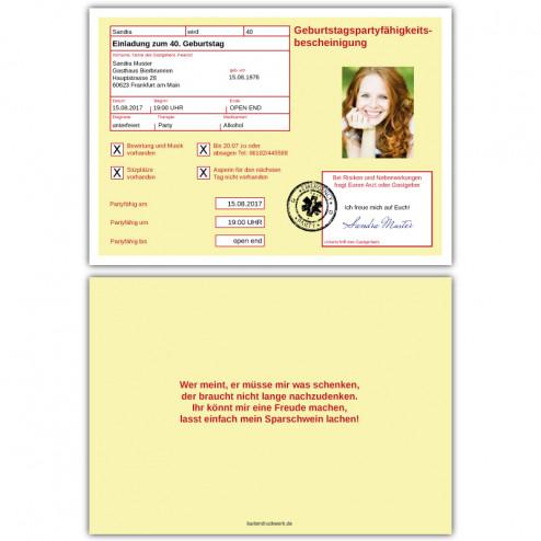 Einladung als gelber Schein Krankmeldung mit Foto