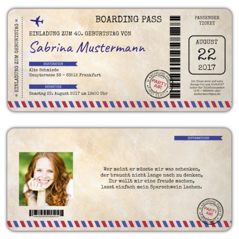 Boarding Pass Einladung Flugticket Vintage mit Foto