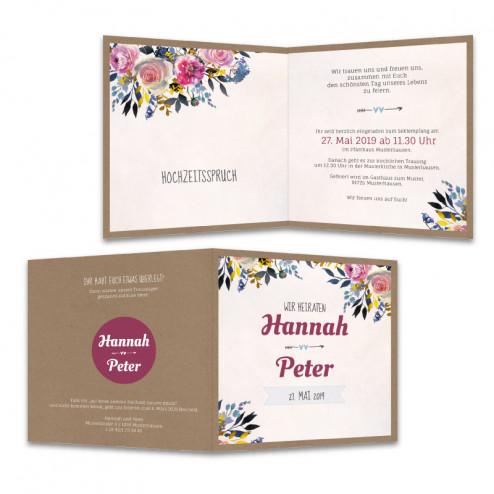 Hochzeitseinladung-Kraftpapier-mit-Blumen-vintage
