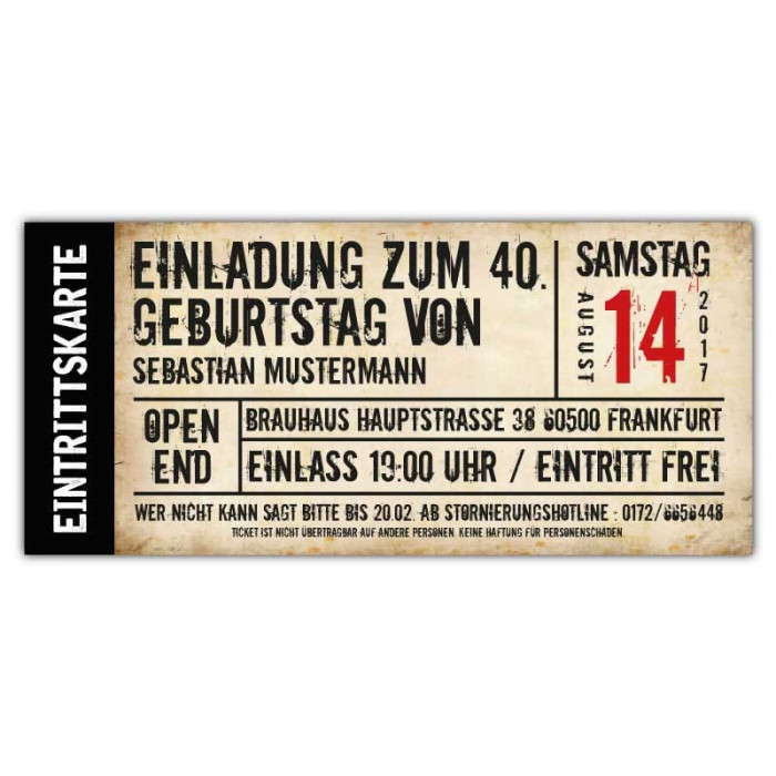 Einladungskarten zum Geburtstag • Eintrittskarte • Ticket • Karte • Einladung