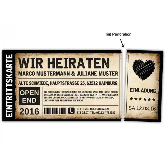 ... Einladungskarten Hochzeit Als Ticket Eintrittskarte Einladung Karte  Vintage Mit Herz