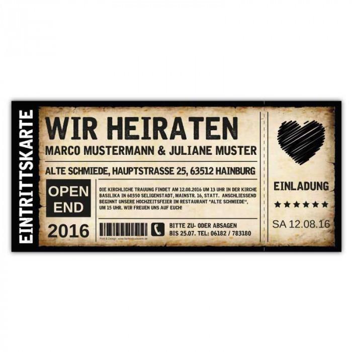 ... Einladungskarten Hochzeit Als Ticket Eintrittskarte Einladung Karte  Vintage Mit Herz ...