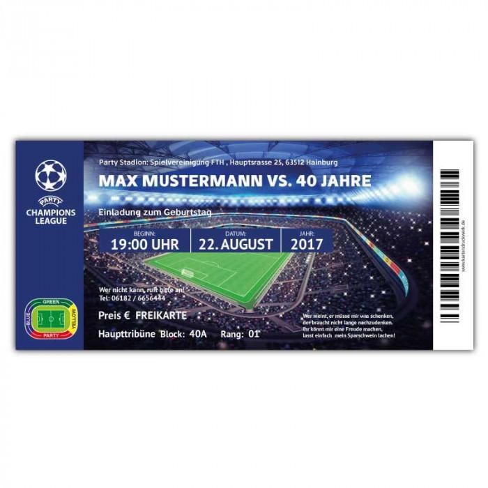 ... Fussball Einladung Als Ticket Eintrittskarte Party Champions League Mit  Foto
