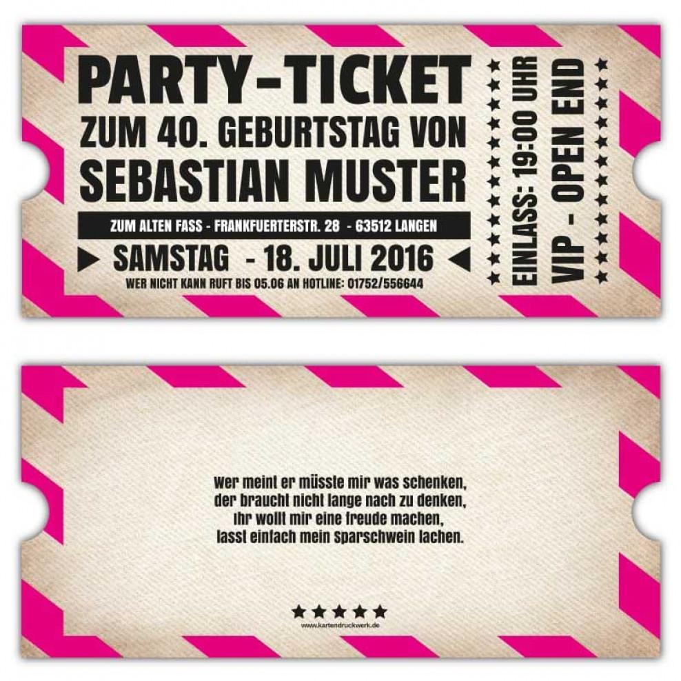 v.i.p. Einladungskarten Vintage zum Geburtstag als Ticket