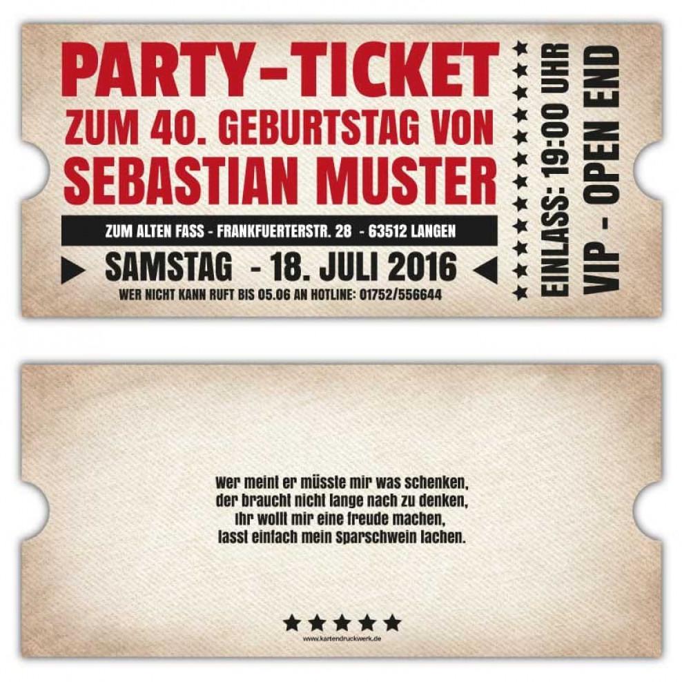 Geburtstagseinladungen als Ticket - Grunge / Vintage Stil