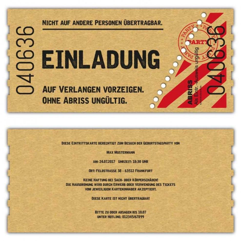 Einladung Kinokarte Zum Geburtstag Vintage Ticket Eintrittskarte