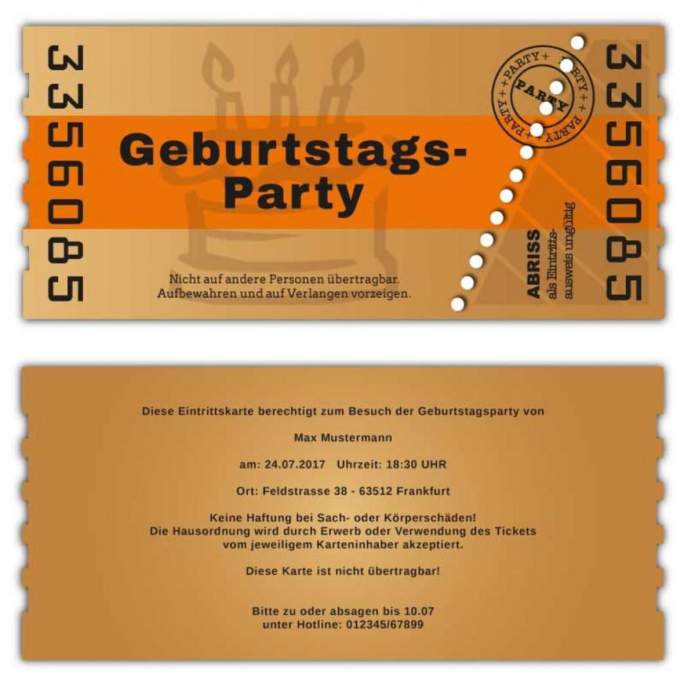 Einladung Zum Geburtstag Als Ticket Abrisskarte