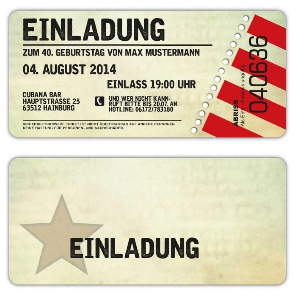Einladung Zum Geburtstag Als Eintrittskarte Ticket