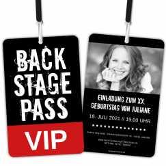 Backstage Pass als VIP Einladungskarten