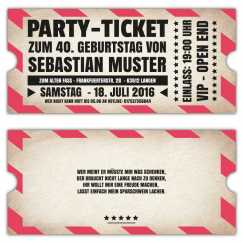 Vintage Einladungskarten zum Geburtstag als Ticket VIP