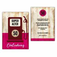 Einladung 50. Geburtstag als Zapfsäule