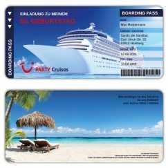 Einladungskarte Schiff als Bordkarte Kreuzfahrt
