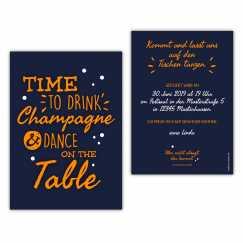 Einladungskarte time to drink champagne