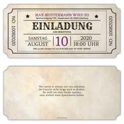 Einladungskarte Vintage American Ticket
