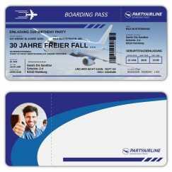 Einladungskarte als Flugticket Boarding Pass mit Bild