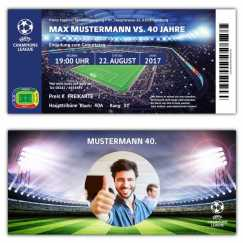 Fussball Einladung Party Champions League mit Foto