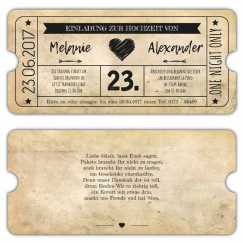 Einladung zur Hochzeit als Eintrittskarte Vintage