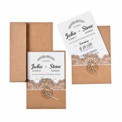 Hochzeitseinladung Kraftpapier mit Spitze Vintage