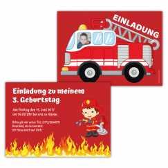 Einladungskarten Feuerwehr mit Foto