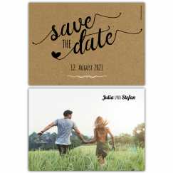 Save the Date Postkarte Kraftpapier vintage