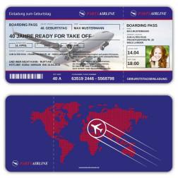 Einladungskarten Boarding Pass Flugticket mit Foto