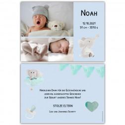 Dankeskarten Geburt für Jungs mit Elefant