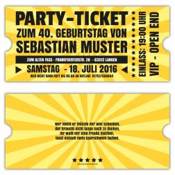Retro Einladungskarten zum Geburtstag als Ticket VIP