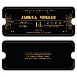 Einladung für Geburtstag als Ticket Art Deco