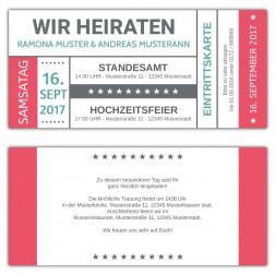 Einladungskarten zur Hochzeit als Ticket, Eintrittskarte
