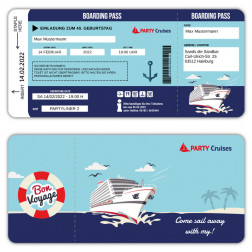 Einladung als Bordkarte Kreuzfahrt Ticket