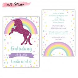 Einladungskarte Einhorn mit Glitzer