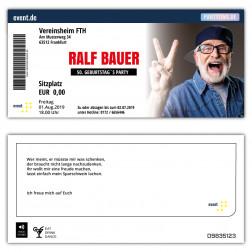Einladungskarten 50. Geburtstag als Konzertkarte mit Foto