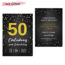 Einladungskarten 50 Geburtstag mit Glitzer