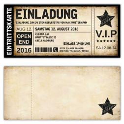 Einladung zum Geburtstag als Eintrittskarte, Ticket