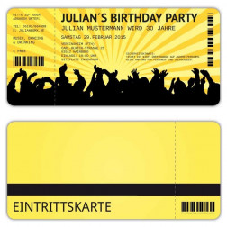 Einladungskarten zum Geburtstag als Eintrittskarte Konzertkarte Ticket  Einladung Retro
