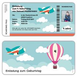 Einladungskarten zum Kindergeburtstag als Boarding Pass