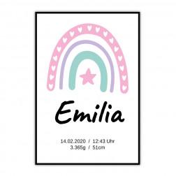 Geburtsposter Regenbogen mit Stern für Mädchen